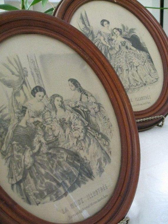 Oval wood framed 1940s Paris fashion prints.: Oval Wood, Wood Frames, Vintage Art