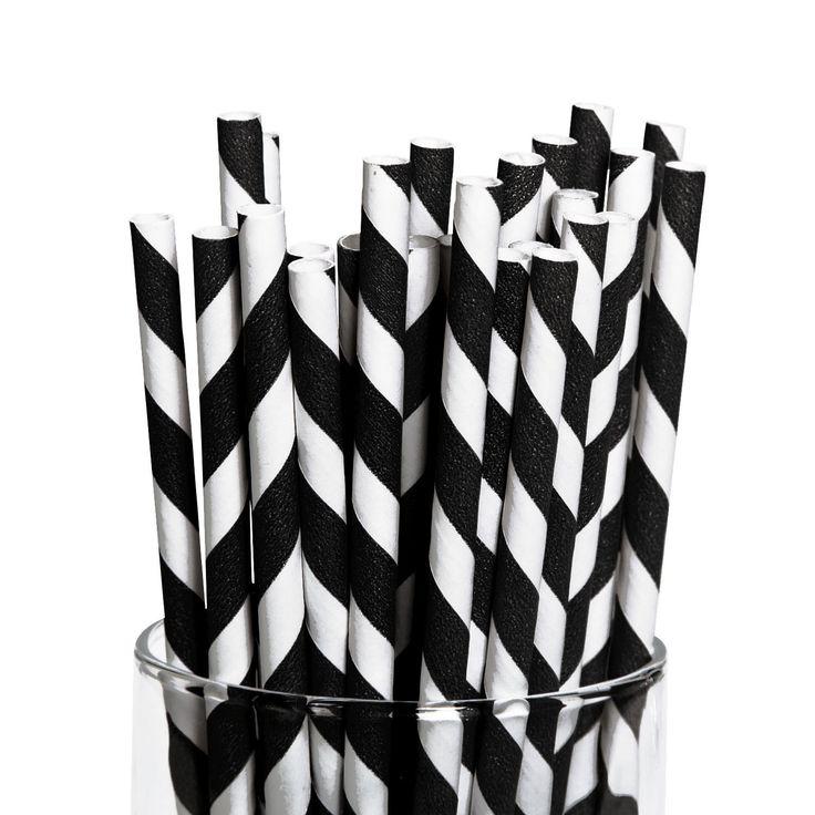 Striped Paper Straws, 12 Pack - Dot NZ Shop