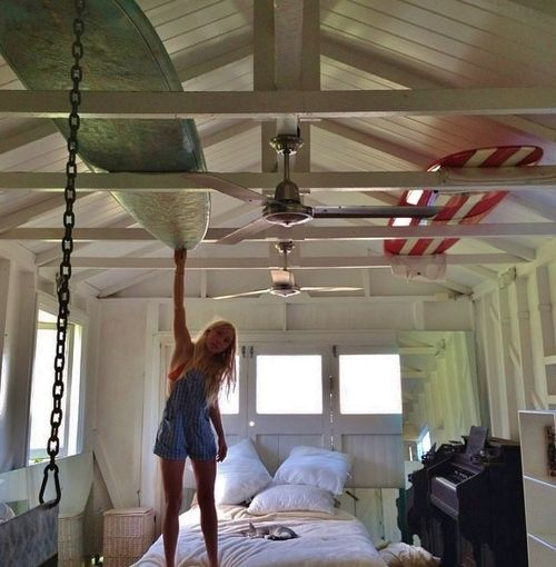 "I like the idea of using exposed beams in the garage to store snowboards, XC skis, our kayaks and all that jazz... I know this is her bedroom in this pic, but I think it would make a great ""storage"" garage."