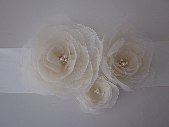 Handmade Bridal Sash with Three Champagne Organza Flowers
