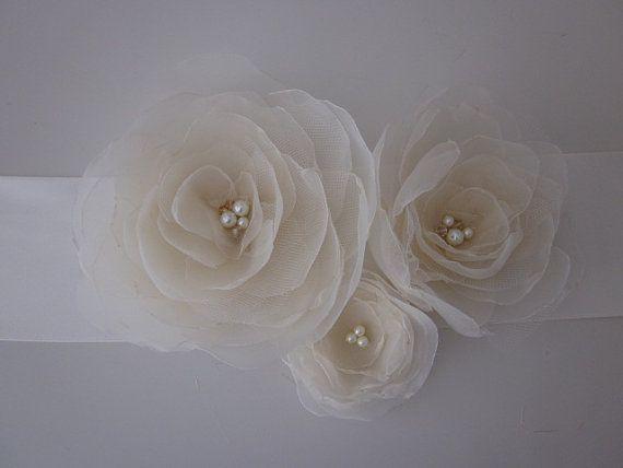 Handmade Bridal Sash with Three Champagne Organza Flowers