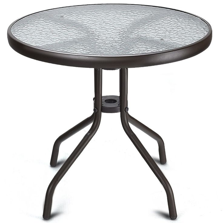 """24"""" Steel Frame Round Table with Tempered Glass Material ..."""