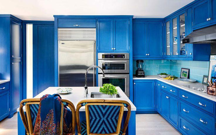 Vista della #cucina e degli #elettrodemistici #appliances #kitchen #blue&white #design