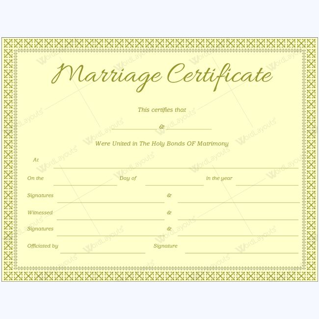Best Marriage Certificate Templates Images On