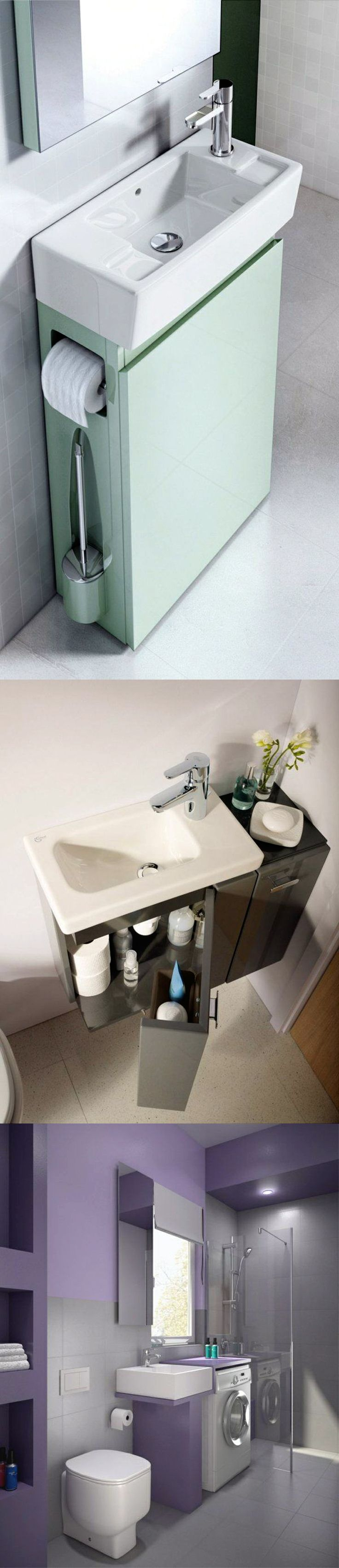Small Bathroom Ideas: Space Saving Modern Bathroom Furniture; Practical  Cabinet Sink; Washing