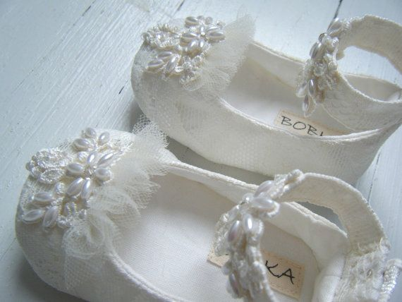 ivory pearl and lace ankle strap shoe pemberly for by bobkababy
