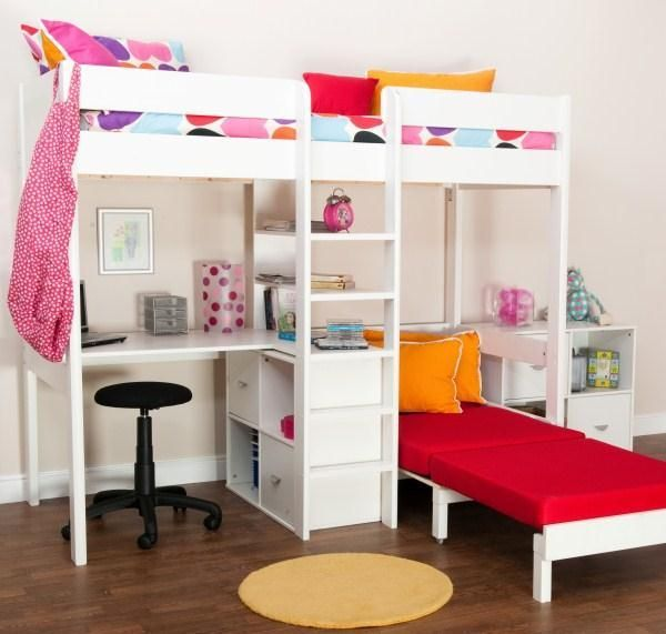Uno 5 White High Sleeper with Desk + Pullout Chairbed with Cushion Set