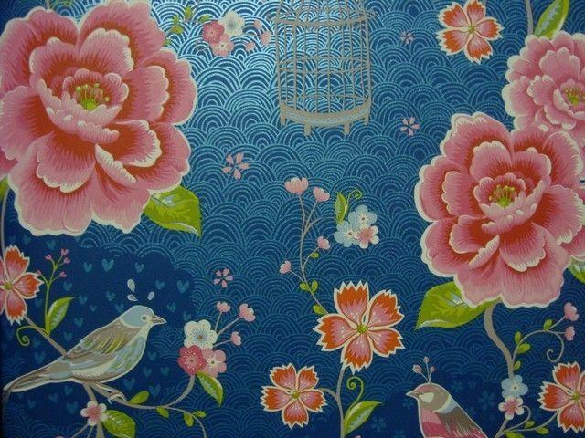 313015 pip blauw roze bloemen vogels eijffinger behang