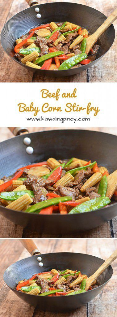 Beef and Baby Corn Stir-fry is a quick and easy dinner meal made with succulent beef sirloin, tender young corn, crisp veggies and a sweet and savory brown sauce