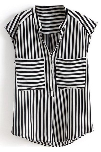 ROMWE | Stripe Double Pockets Shirt, The Latest Street Fashion