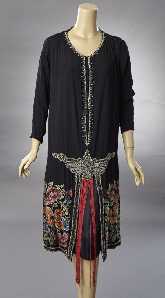 1920 Black Silk Dress with Red Beaded Fringe and Embroidered Design. Front