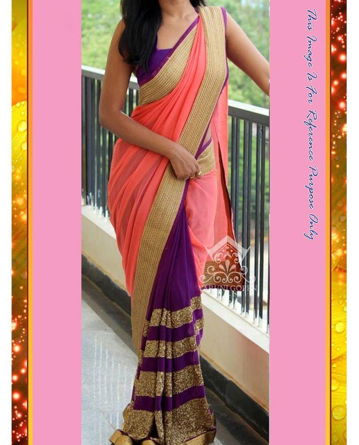 Peach and Purple Georgette Sari With Heavy Sequins Work   1. Peach and Purple Georgette Sari With Heavy Sequins Work2. Comes with unstitched Matching Blouse