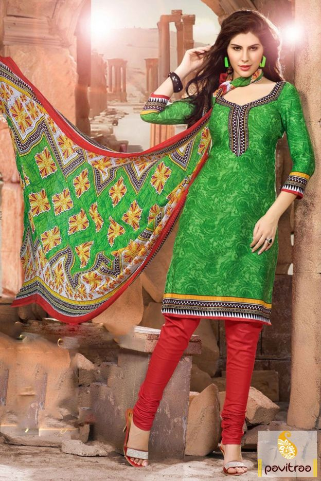 Get the fashionable look by purchasing green and red cotton salwar suit with lowest price. It is fine with printed work dupatta. Shop this sober salwar kameez with discount. #salwarkameez, #cottonsalwarkameez, #casualsalwarlameez, #printedsalwarkameez,#churidarsalwarkameez, #discountoffer, #pavitraafashion, #utsavfashion, #embroiderysalwarsuit, #georgettesalwarsuit, #silksalwarkameez, #straightsalwarsuit http://www.pavitraa.in/store/casual-dress/ callus:+91-7698234040