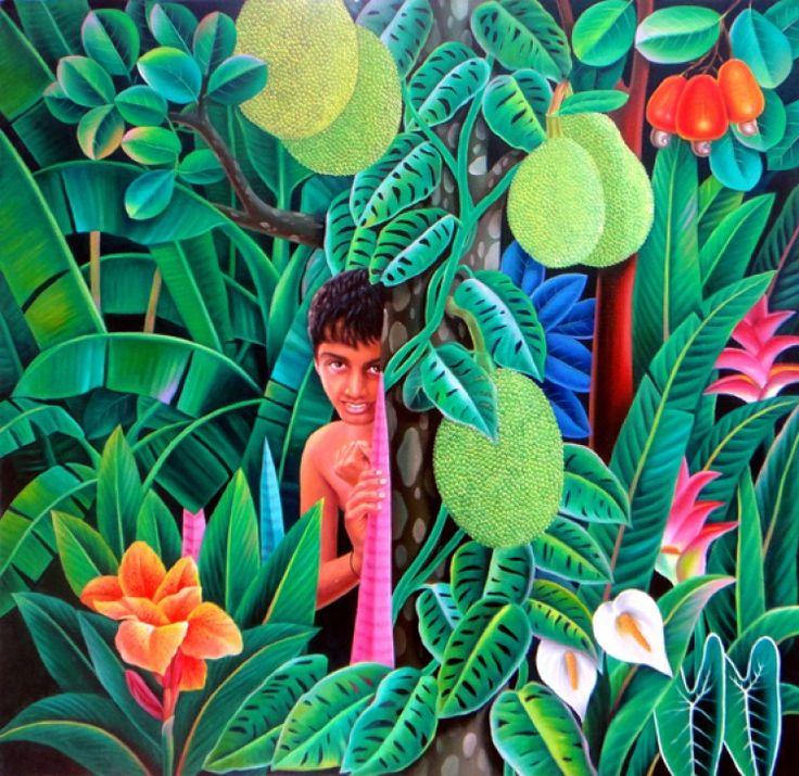 boy-behind-jack-tree.jpg - Painting,  48x48 cm ©2013 by Murali Nagapuzha -  Painting, Oil