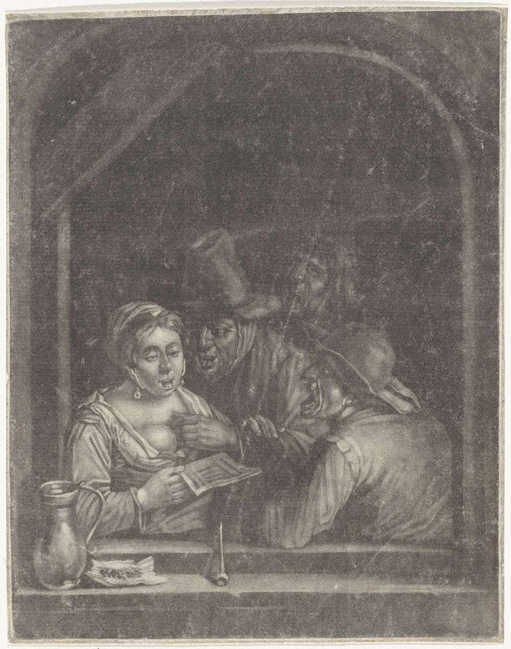 Zingende figuren in een venster, anonymous, 1650 - 1800