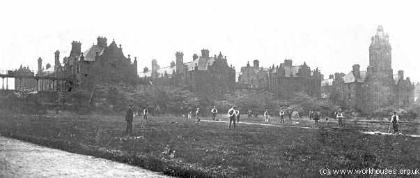 Salford Hope Hospital - cricket game in progress, early 1900s