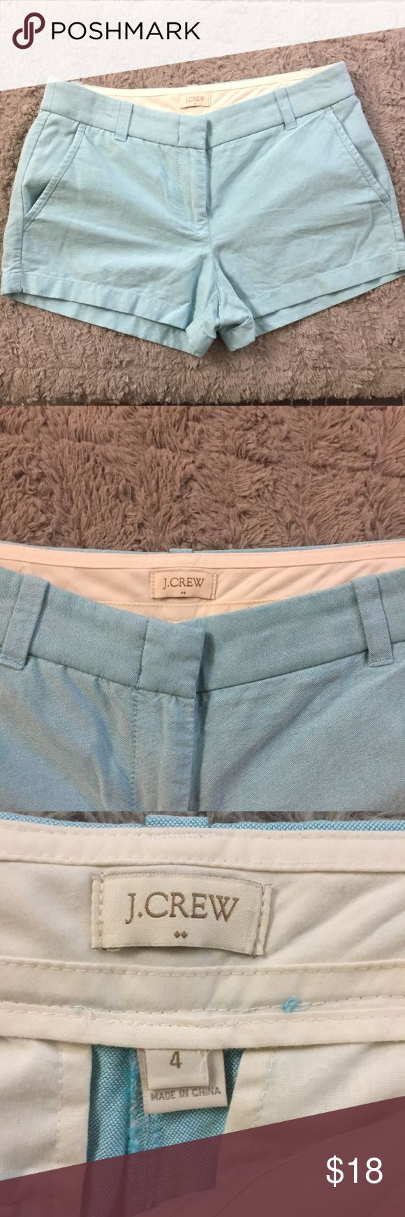 "J Crew aqua blue light 4"" chino shorts for women In excellent condition. No flaws or imperfections. Little to no wears. 3"" inseams. Neutral Light color allows easy to style with so many shirts and tops. Ask if have any questions. J. Crew Shorts"
