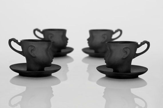 Set of four porcelain doll head cups in black with saucers- whimsical set of black ceramic artisan mugs, for coffee or tea