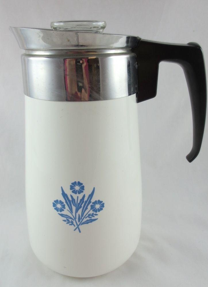 Vintage Corelle Corning Ware Blue Cornflower 9 Cup Coffee Pot Perculator Visit Us On Ebay