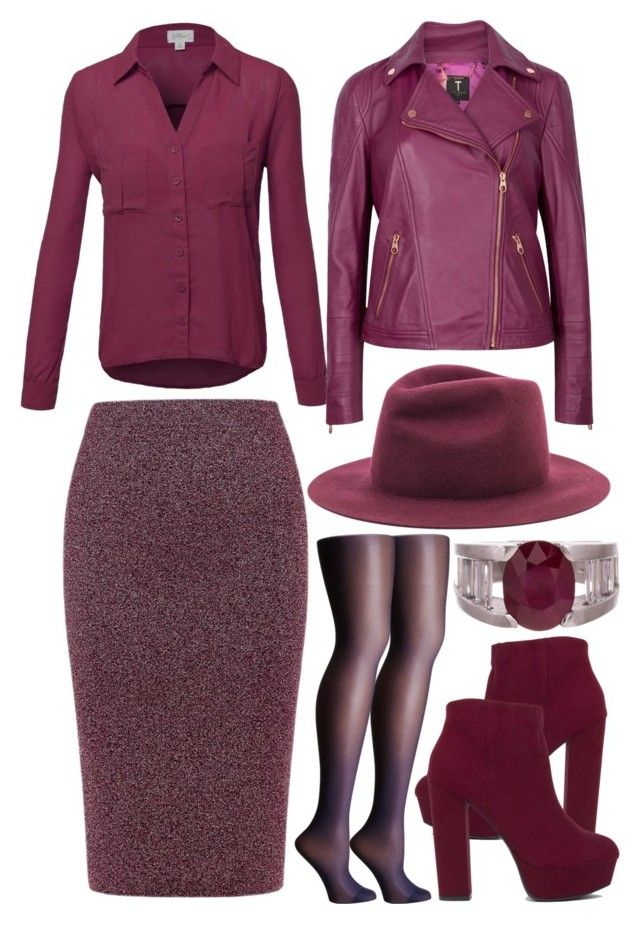 Autumn- purple by slytheriner on Polyvore featuring Ted Baker, Essentiel and Wolford