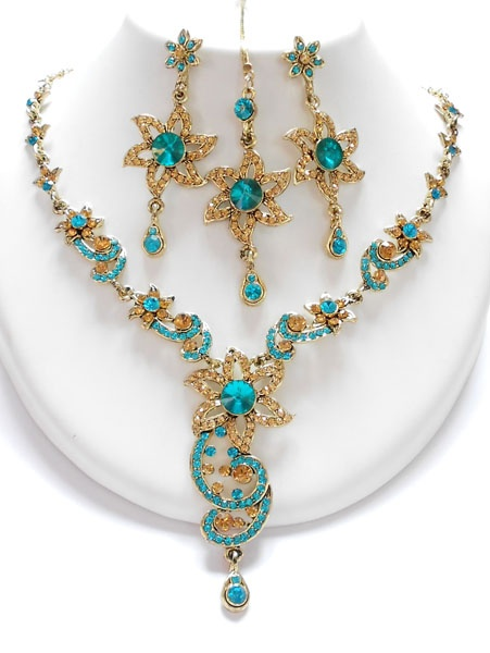 blue and honey combination of jewelry set, available at www.impexfashions.com