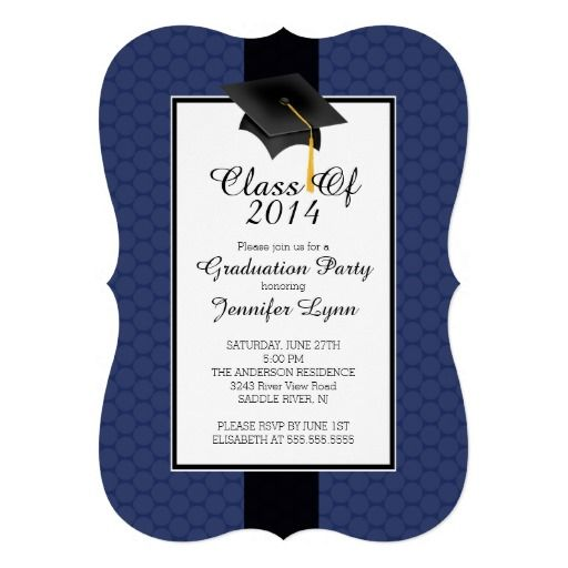 Modern blue 2014 graduation party invitation graduation pinterest party invitations and modern for Graduation announcements pinterest