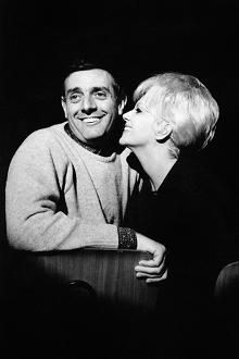 Franca Rame with her husband rehearsing for the sketch show Canzonissima in 1962