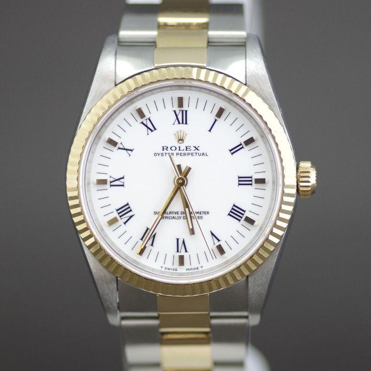 【中古】ROLEX(ロレックス) 14233 T番 オイスターパーペチュアル オートマチック コンビ ボーイズ メンズ プリントローマ ホワイト文字盤時計/新品同様・極美品・美品の中古ブランド時計を格安で提供いたします。