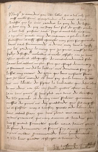 """Letter written by a young Anne Boleyn to her father, in archaic French, signed """"Anna da Boullan""""."""