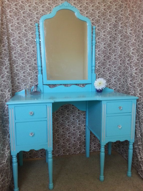 Vintage Tiffany Blue Vanity With Swivel by AntiquatedRevolution, $275.00