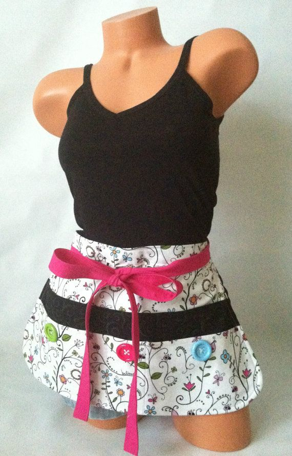 Bringing back a popular apron design featuring inspirational words and ladybugs! Fun Teacher Apron  White Black Pink Floral Half Apron by mizzeztee, $40.00
