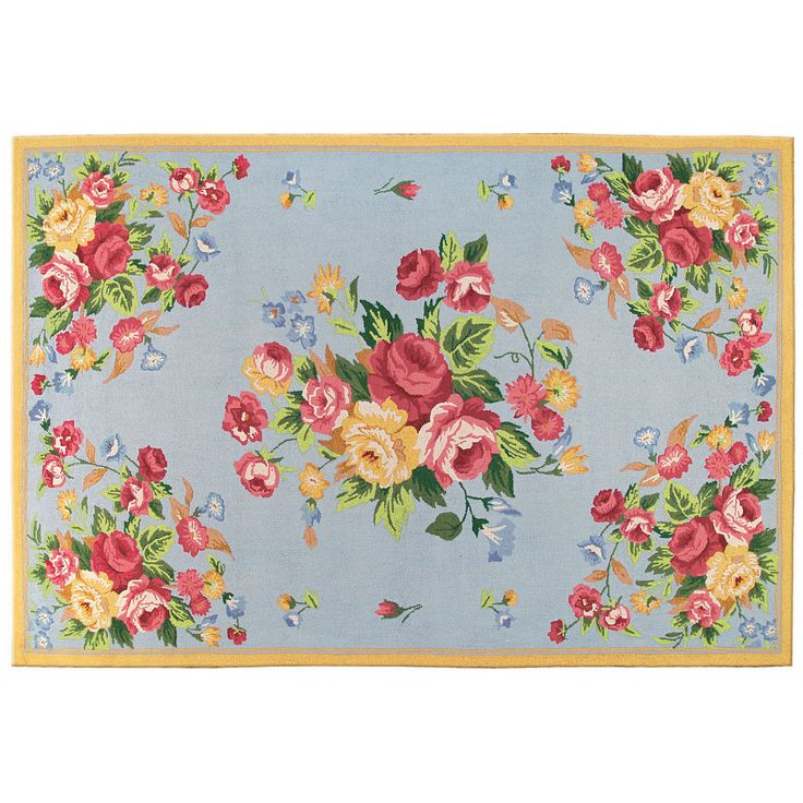 Floral and More Le Fleur Blue Cornflower Contemporary Rug - 11184 By The Rug Market