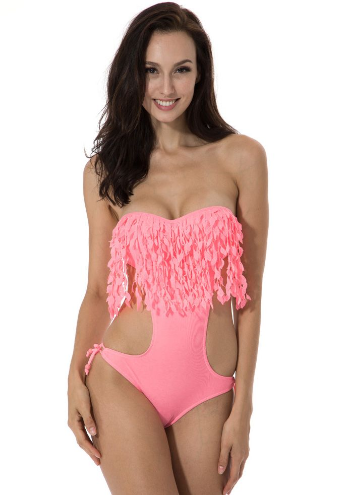 Pink Push-up Bandeau Top One-piece Swimsuit With Stylish Leaves Detail on The Fringe-SheIn