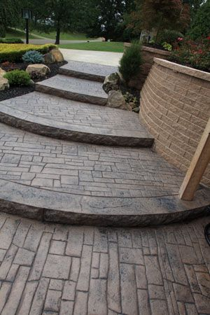 Cascading Stamped Concrete Steps Outdoor Ideas