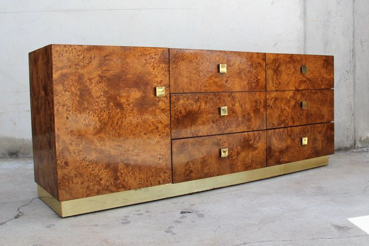 Image of Olive Burl 9-Drawer Lowboy Dresser by Founders