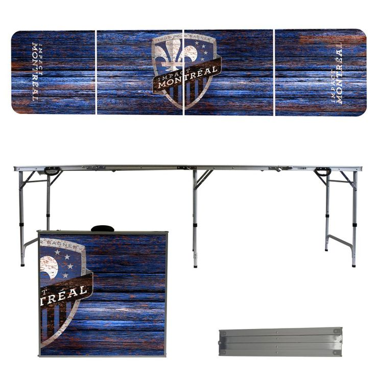 Montreal Impact 8 Foot Portable Folding Tailgate Table Weathered Version