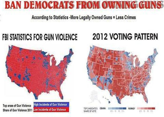 "Areas of high ""gun violence"" according to FBI stats next to 2012 Voting map..."