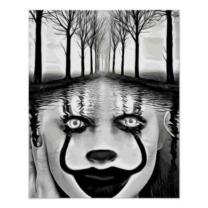 Evil Clown Womans Face In river Abstract Art Poster - black and white gifts unique special b&w style