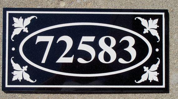 Black Granite address plaque custom carved 6 x by RealStoneCarving