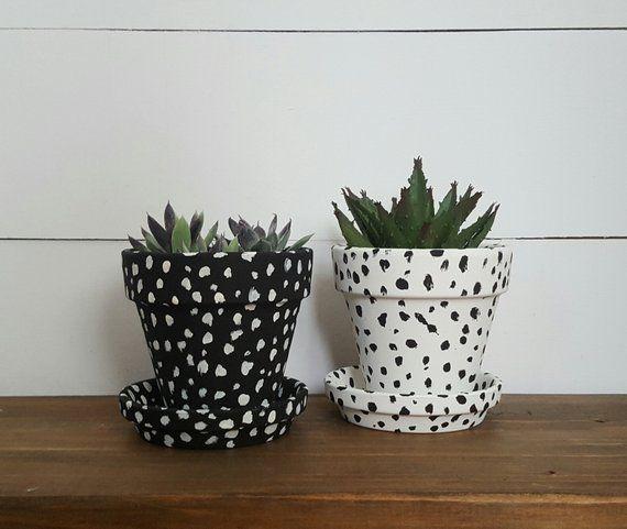 Succulent Planters Set Of 2 Herb Planters Herb Pots Black And White Planters Modern Farmhouse Painted Pots Painted Plant Pots Painted Flower Pots White Planters