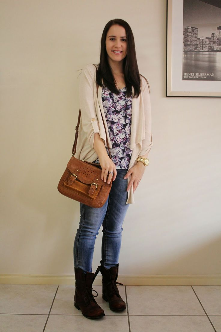 Jeans floral top brown combat boots u0026 a cream cardigan | Brieu0026#39;s Petite World | Pinterest ...