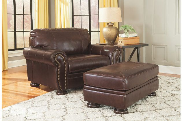 Oversized Brown Leather Chair With Beautiful Matching Ottoman