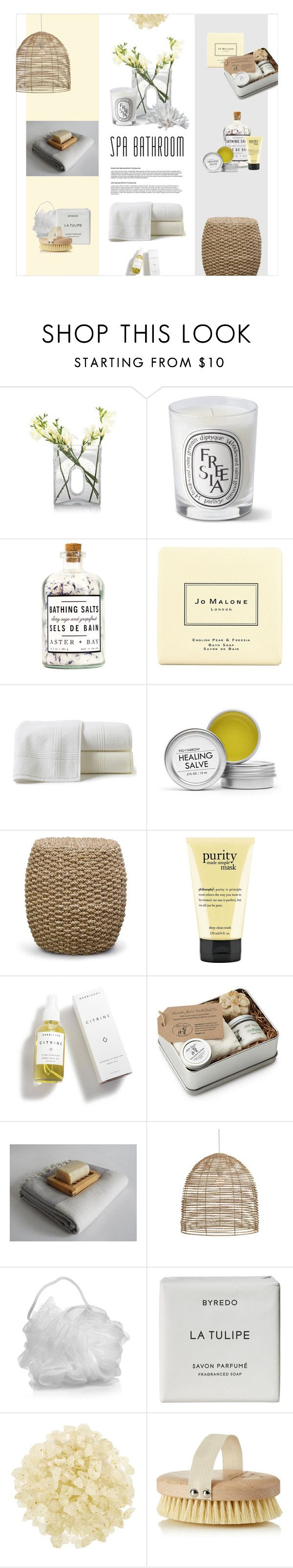 """""""Spring Spa"""" by magdafunk ❤ liked on Polyvore featuring interior, interiors, interior design, home, home decor, interior decorating, Diptyque, Jo Malone, Peacock Alley and Fig+Yarrow"""