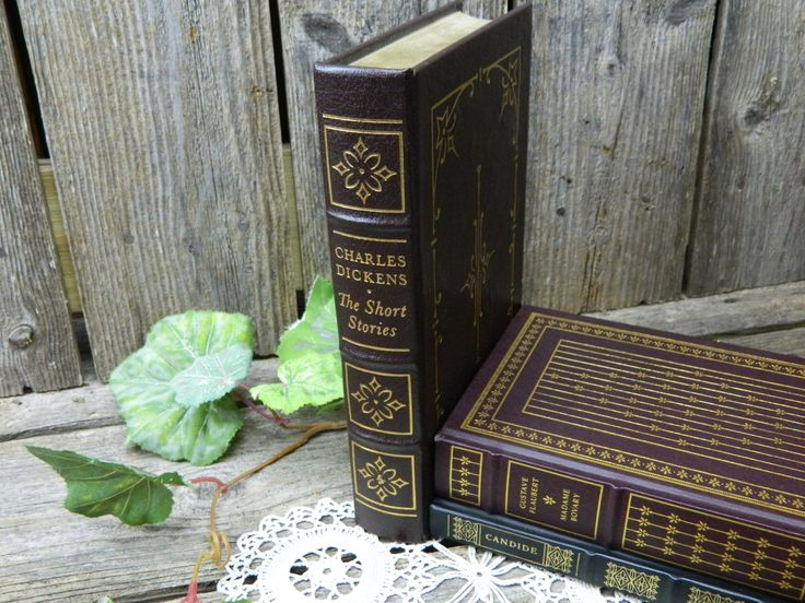 Vintage Gilded Leather Book - Charles Dickens - The Short Stories - Easton Press by allthatsvintage56 on Etsy