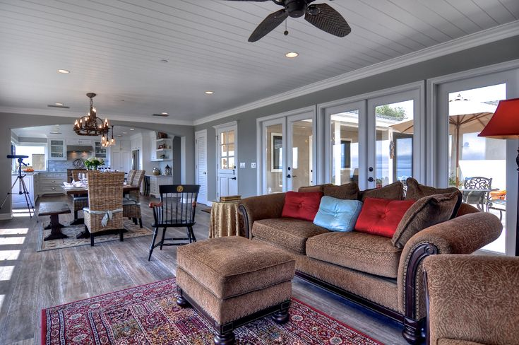 Family Room: traditional, classic, beach architecture, beach style, beach organic, stained wood Island, painted wood ceiling, painted crown molding, Ornamentation, Trim, recessed can lights, ceiling fan, French doors, wood windows, marble fireplace with wood mantel, natural wood floors.