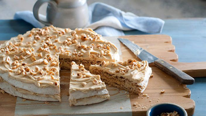 Dutch hazelnut cake. Chef Geert Elzinga from Sydney's Essen Restaurant shares his version of this classic dessert, which features a delicate hazelnut meringue under a sweet but intense coffee-cream filling. Listen to the audio recipe.