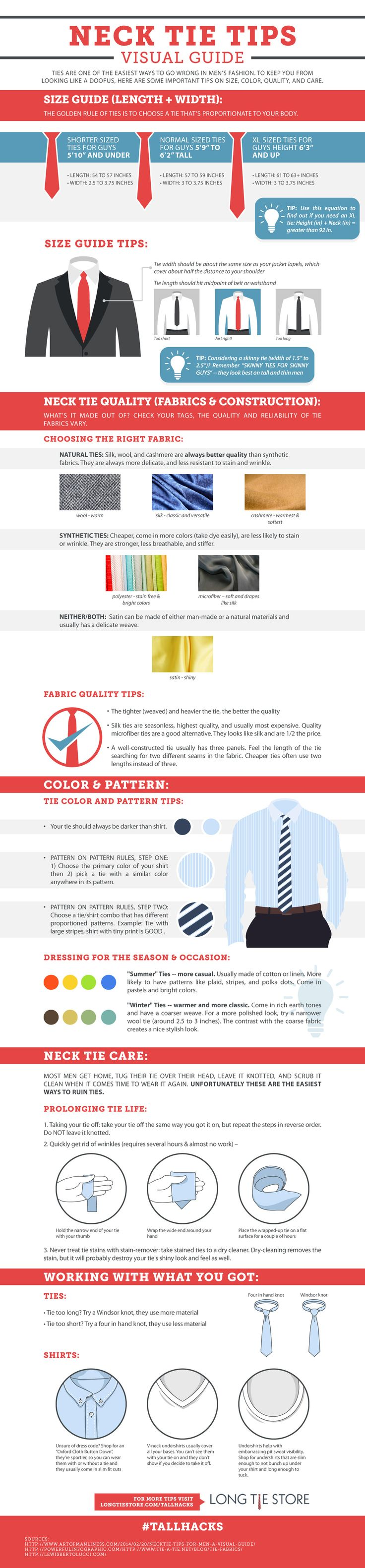 Neck ties are one of the easiest ways to go wrong in men's fashion | Advice on tie size, style, quality, and care in this Tie Tips Visual Guide Infographic