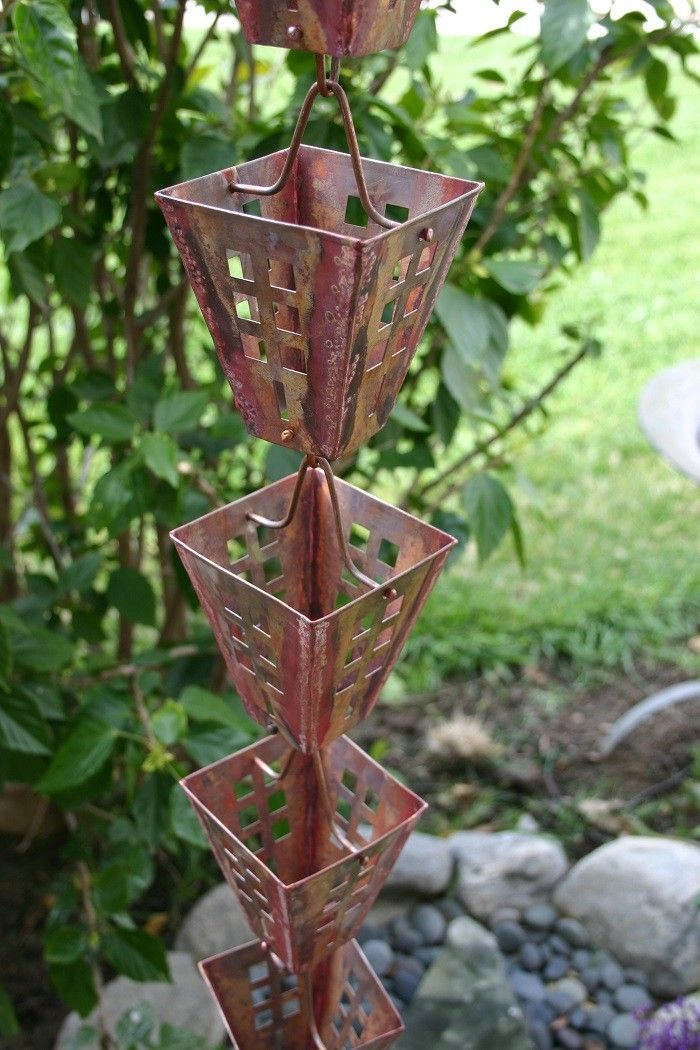 Arts & Crafts Rain Chain - Beautiful, copper rain chain for a decorative alternative to traditional gutter downspouts.