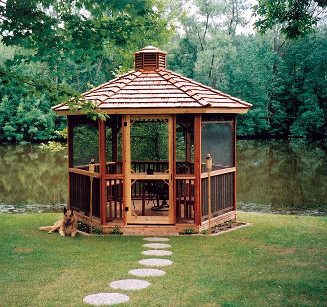 I would LOVE a screened gazebo on the island overlooking the front dock. Bug Free!