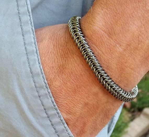 Make A Chain Mail Bracelet: Men's Gunmetal Box Weave Chainmaille Bracelet